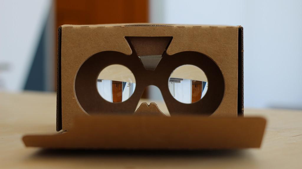 Google cardboard headset on a table
