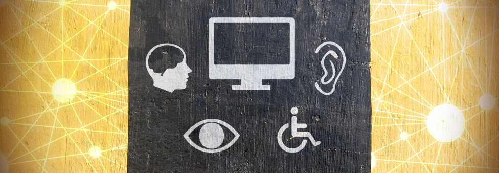 Image showing chalk drawings of accessibility symbols on a dark background