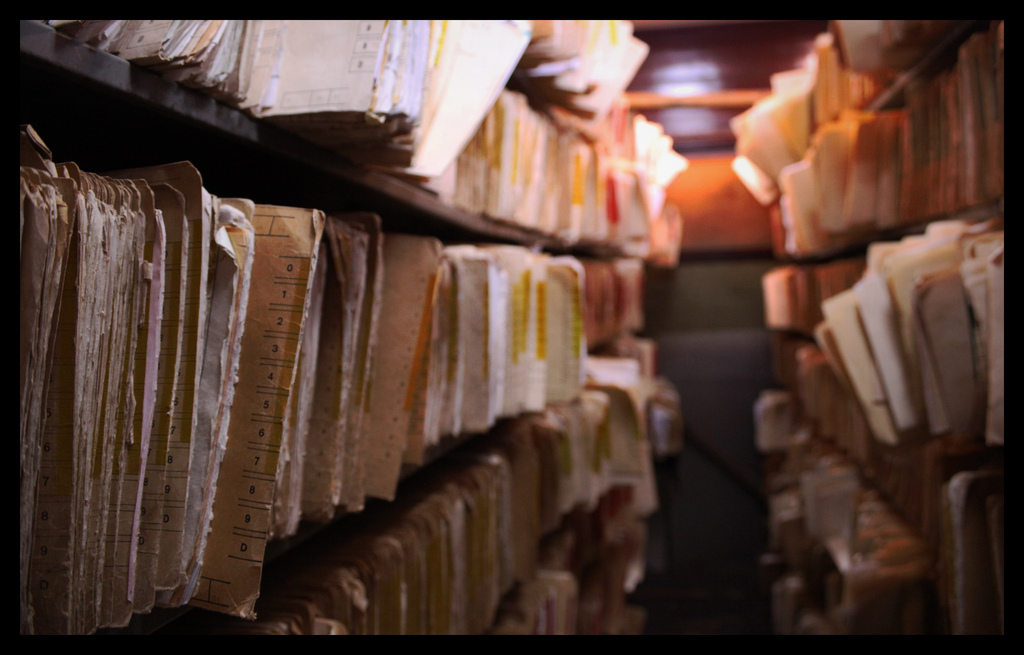 Image showing a traditional archive containing many manilla document folders