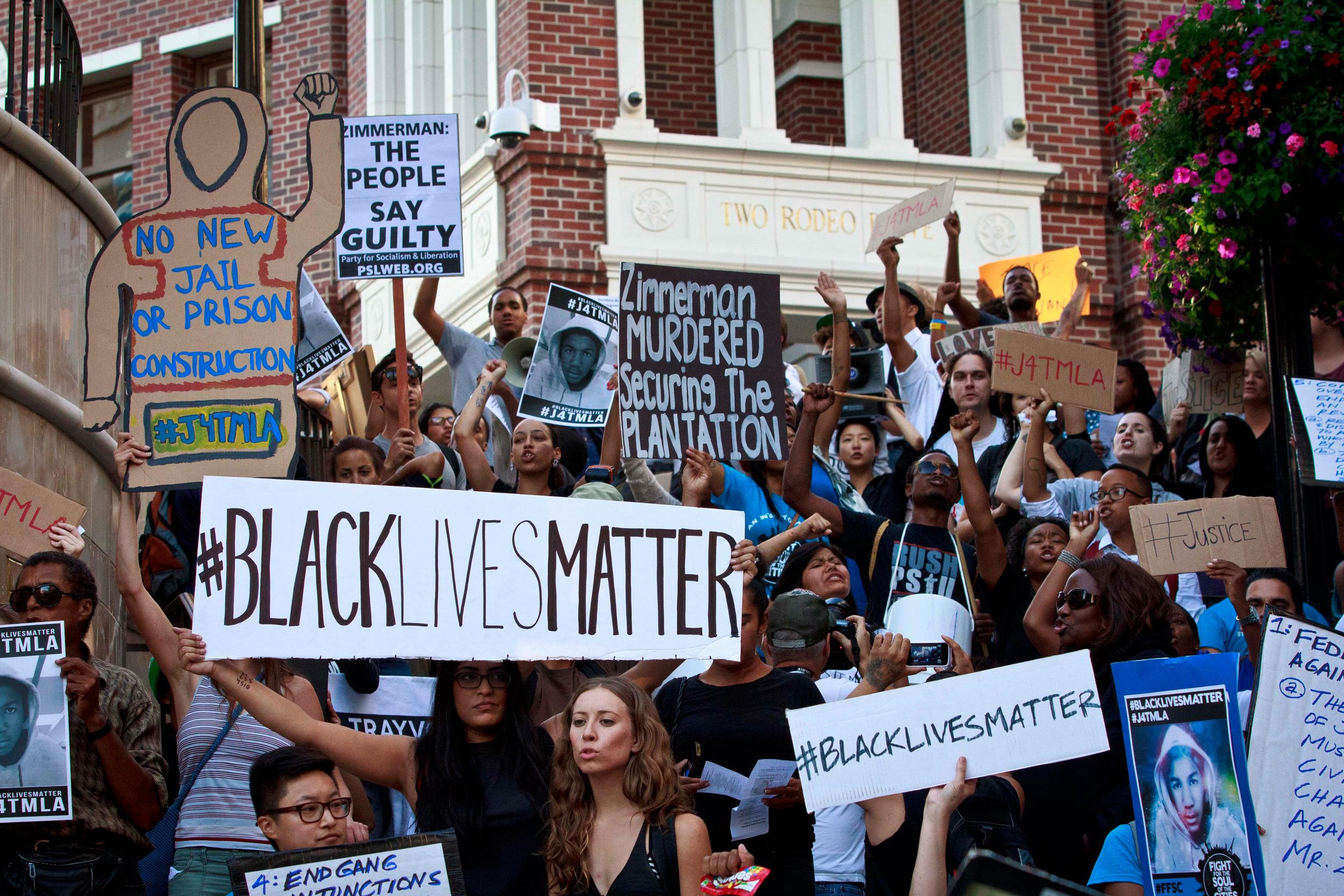 BlackLivesMatter demonstration on steps
