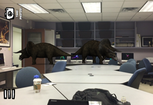 Phone screenshot image of computer generated dinosaurs walking over the desks of a classroom