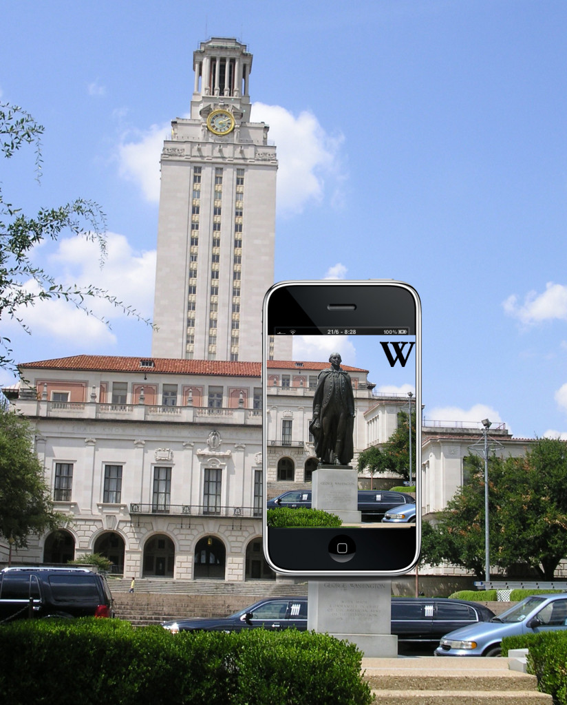 A composite image showing the statue of George Washington at the top of UT's south mall on an iPhone screen. The Main Tower is in the backgound.