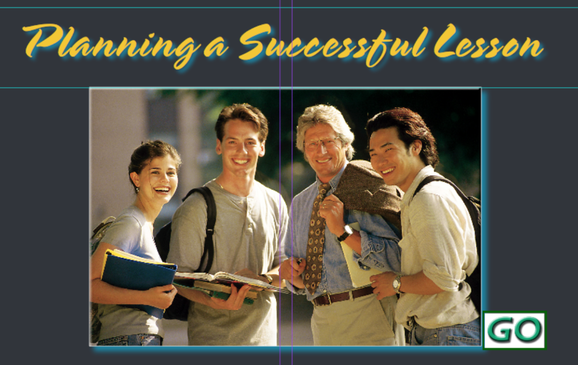 """Students and teacher stand together, text reads """"Planning a Successful Lesson"""""""