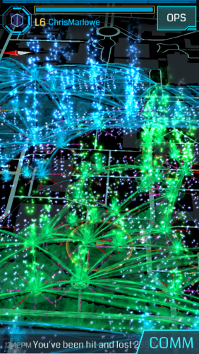 Phone screenshot showing a black background with green and blue fountains shapes, some connected by lines, superimposed on it.