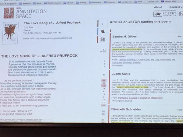Photograph of annotation screen. The Love Song of J. Alfred Prufrock is on the left half of the screen, with sample text from related JSTOR scholarship on the right.