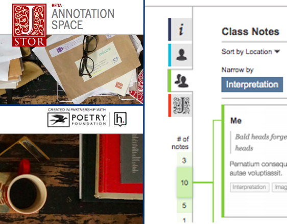 Composite image showing three screenshots of a web poetry annotation tool.