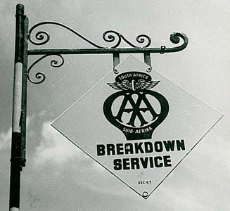 "A black and white image of a sign that reads "" AA South Africa Breakdown Service"""