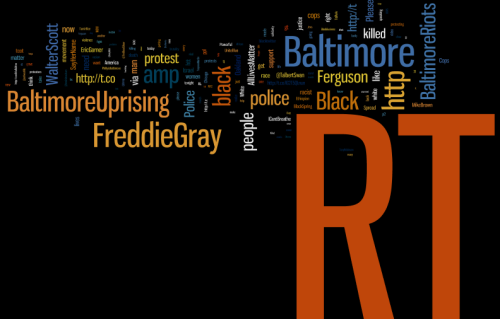 "A word cloud in front of a blck background. ""RT"" is orange, in the bottom right corner, and by far the biggest word. Other major words are ""Baltimore,"" ""FreddieGray,"" ""BaltimoreUprising,"" ""Black,"" and ""http."""