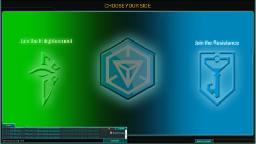 an image showing the identity badges for both factions in the game. The green badge is for the Enlightenment, while the blue one is for the Resistance faction.
