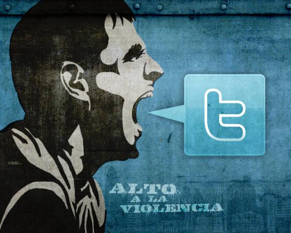 "A stencil grafitti of a man shouting, with a speech bubble containing the Twitter symbol. Background and speech bubble are the Twitter shade of blue. A stenciled caption reads: ""ALTO A LA VIOLENCIA."""