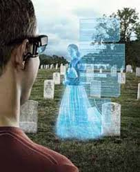 An example of a digital overlay augmenting reality by providing information about a deceased person at her gravestone.