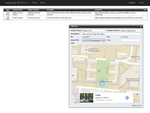 A screenshot showing an entry form where users can create their own augmented reality content by entering information and selecting a place on a map