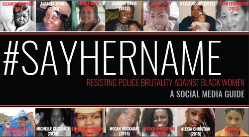 A snapshot from the cover of the Say Her Name report regarding resisting police brutality against black women.