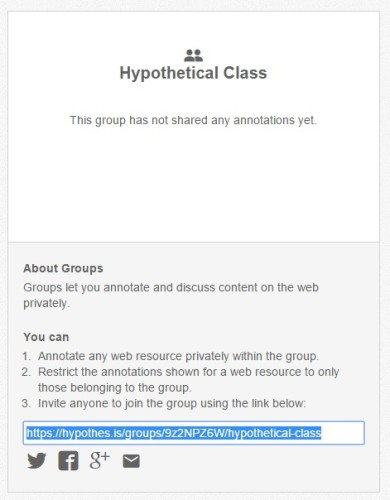 The screen used to create private groups in the Hypothesis tool