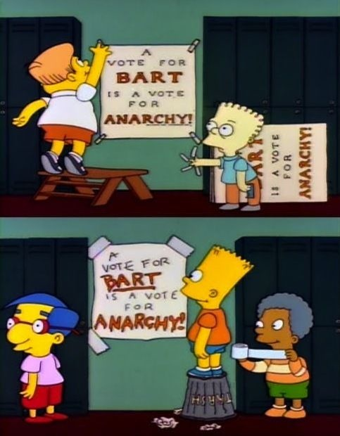 A screenshot from The Simpsons showing two signs in different fonts, both reading: A Vote For Bart Is A Vote For Anarchy