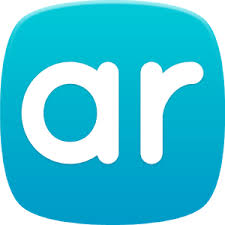 "Image shows a blue app icon with white lettering saying ""ar."""