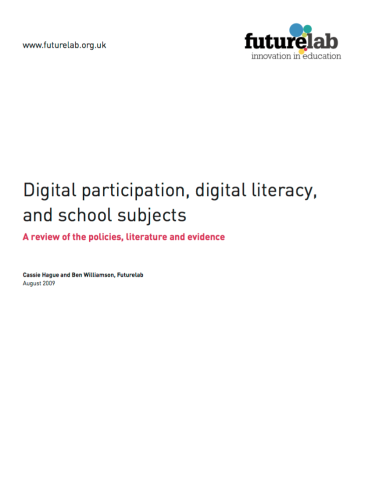 "front page of article, ""Digital participation, digital literacy, and school subjects"" with FutureLab logo in the top right corner"