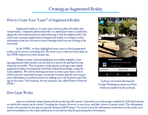 "Image shows dark blue text on a white background, headed ""Creating an Augmented Reality,"" and a screenshot from a phone with an image from the app."