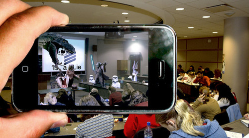 Augmented reality overlay in a classroom.