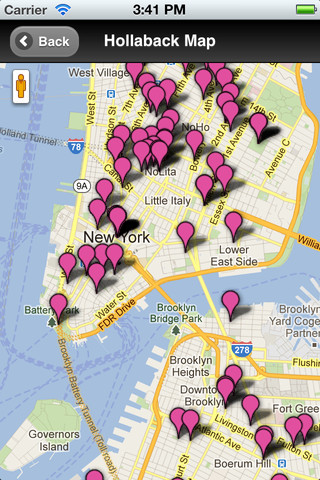 google map of new york city with pink dots marking various spaces