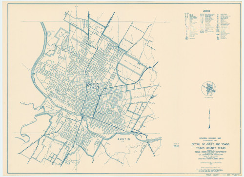 (Paper) map of Austin, 1936. Image via the Texas State Library and Archives Commission