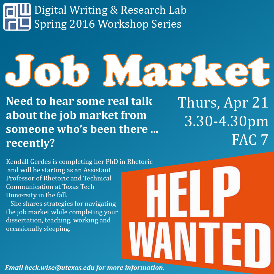 Flier for DWRL Job Market workshop, Thurs, April 21, 3.30-4.30pm