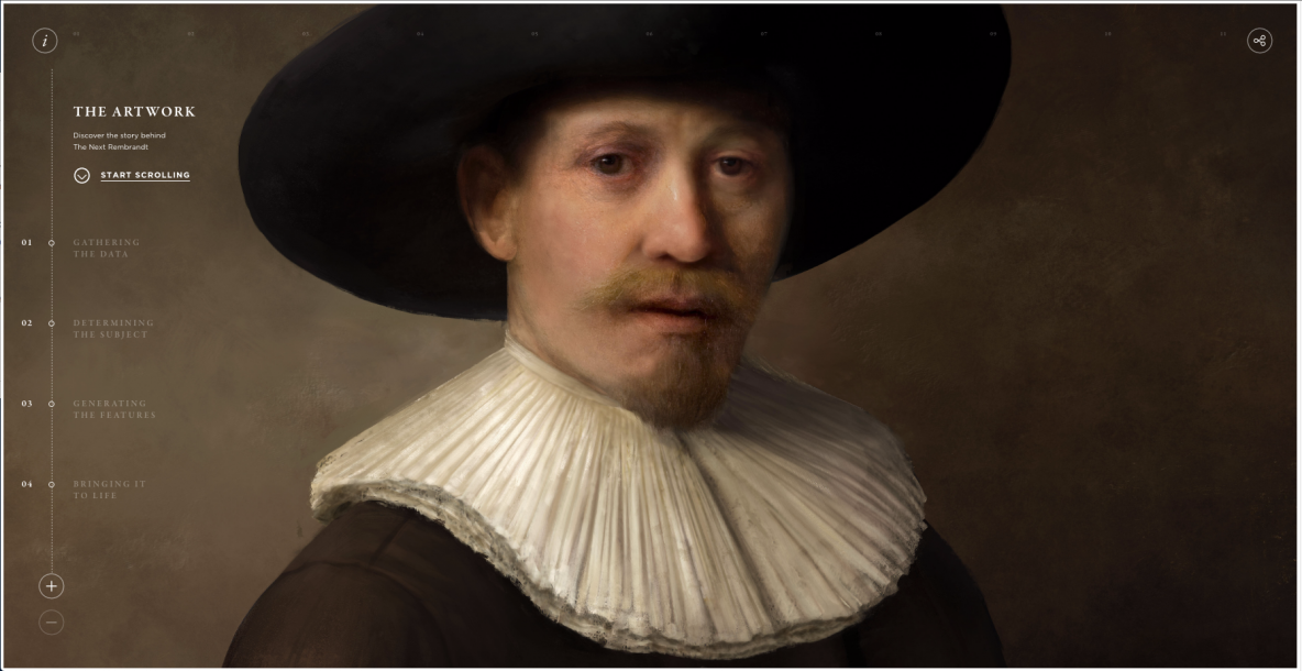 "The ""Next Rembrandt"" was painted by a computer. It shows a middle-aged man with a mustache, wearing a black hat and a white collar. Image Credit: The Next Rembrandt Project, Press release: http://thenextrembrandt.pr.co/125449-can-technology-and-data-bring-back-to-life-one-of-the-greatest-painters-of-all-time."