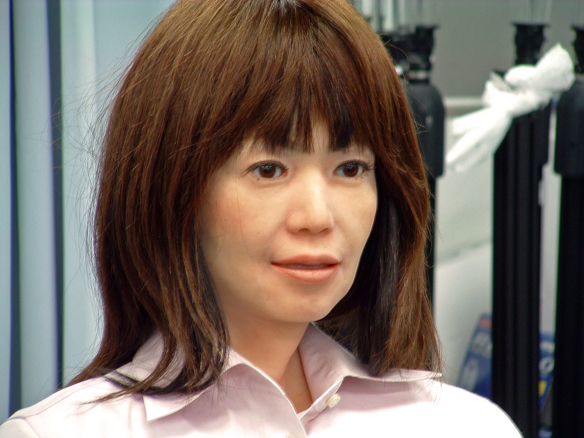 This image shows a humanoid robot called Repliee Q2.