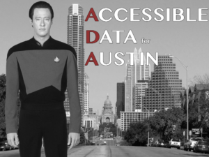 Star Trek's Data standing in front of the Austin skyline.