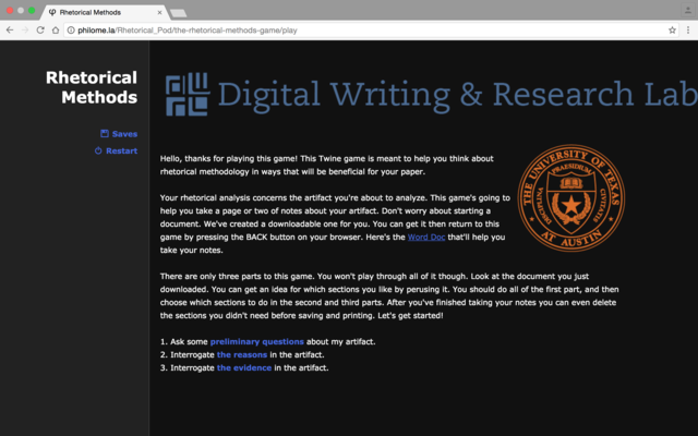 An image of the first page of the Twine game. The image features the Digital Writing and Research Lab's logo and The University Seal.