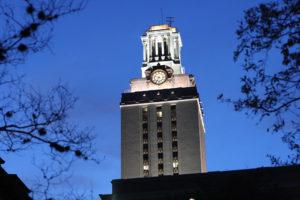 The UT Austin tower at night