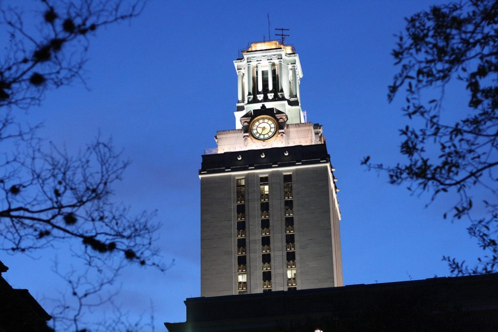 The UT Austin tower at night