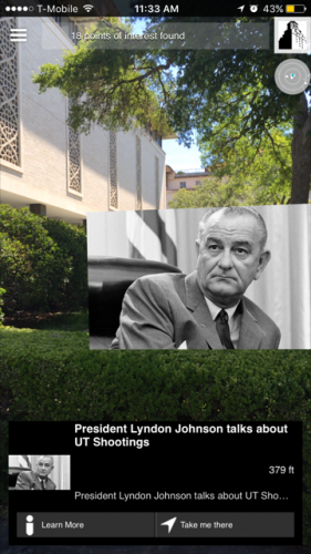 Screen shot of Raugmenter in action, through a cell phone's camera lens, with an image of Lyndon B. Johnson popping up in space that links to his speech about the shootings.