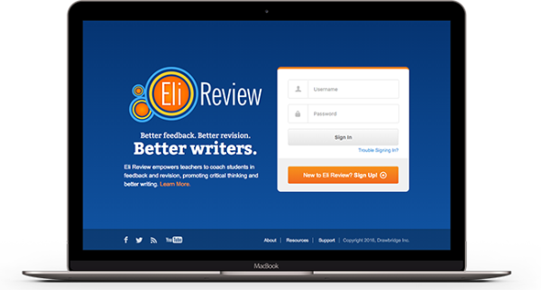 "Photograph of open laptop on a plain gray background. Laptop screen displays Eli Review logo and text ""Bettr feedback. Better revision. Better writers."""