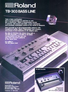 A magazine advertisement for the TB-303 from the 1980s. The image is retro, and shows a futuristic prism floating over the grey bass machine.