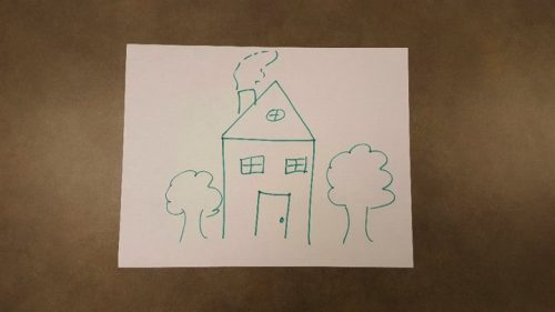 A very rough sketch of a house with two trees on both sides of it.