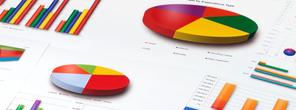 A variety of colored graphs on a white background