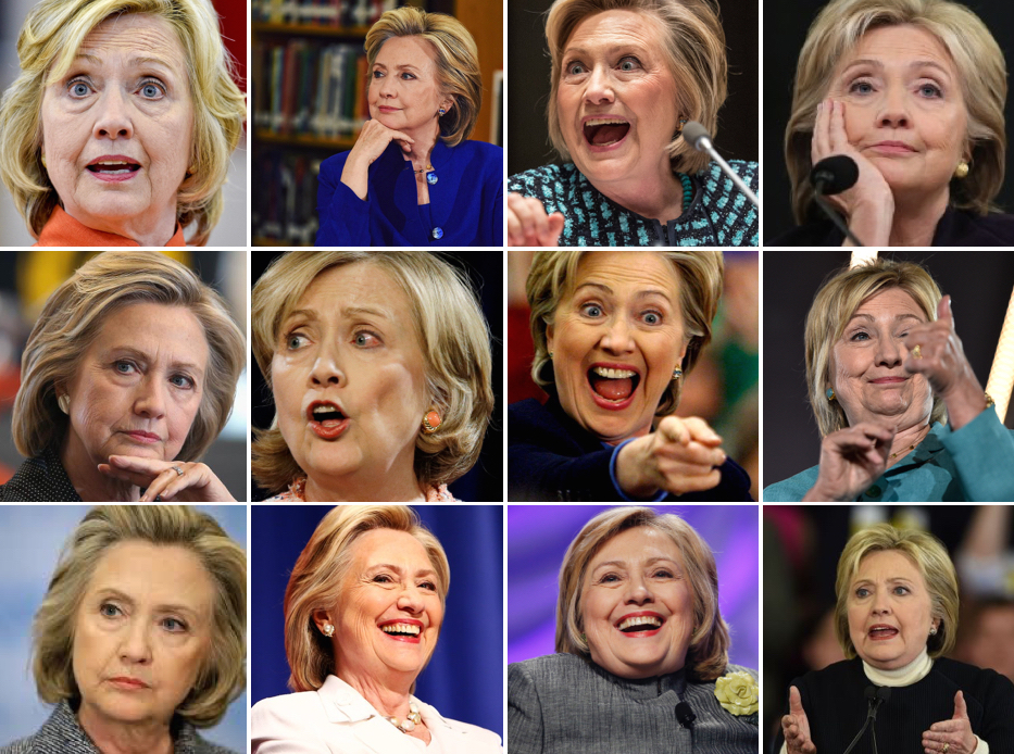 Collage of photos of Hillary Clinton.