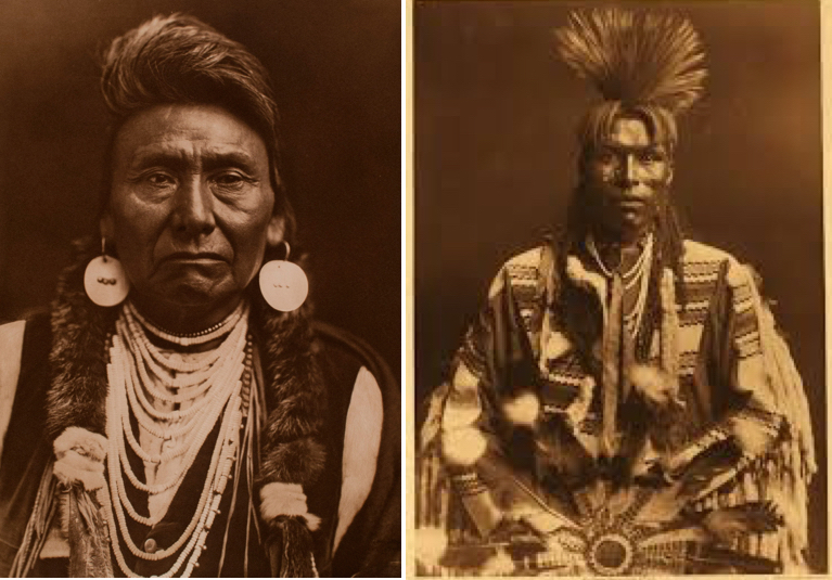 Portrait of Hinmatóoyalahtq'it (left) and Piegen Dandy (right) circa 1890. Sepia-toned portraits of Native American men in traditional tribal clothing, unsmiling and unmoving against empty backgrounds.