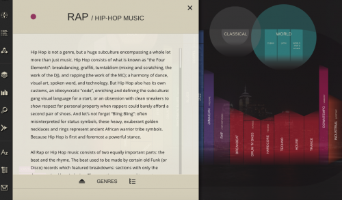 Screen shot of a screen with description of Rap/Hip Hop Music