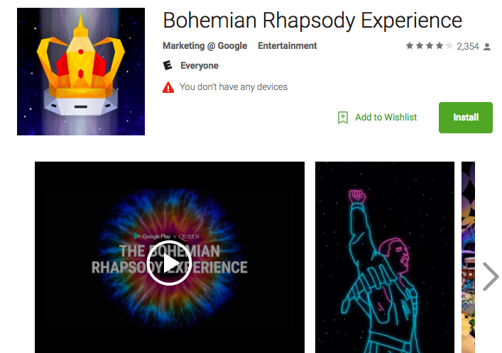 Screen capture of product description page for virtual reality app called The Bohemian Rhapsody Experience