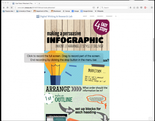 "This is a screenshot of a page on a website. The majority of the screen is white, and the url indicates that the website is the Digital Writing and Research Lab. In the middle of the screen, admist the white, is an infographic titled ""Making a Persuasive Infographic."" The infographic is split into three sections, all roughly the same size. Overlaying the infographic is a display screen that reads, ""Click to record the full screen. Drag to record part of the screen. End recording by clicking the stop button in the menu bar."""