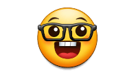 "This image is of the ""nerd emoji."" The emoji has a cartoon, circular barely semi-humanoid face. It's entire head is circular. It's wearing glasses, and it's mouth and eyes are agape in wonder and earnestness."
