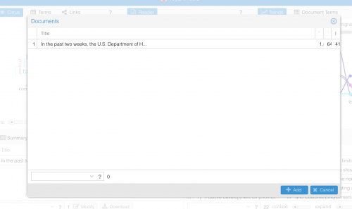 A screenshot of Voyant's Documents manager function.