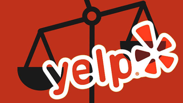 This is a picture of the Yelp logo with a symbolic scale in the background indicating the lawsuits against Yelp. The picture is mostly in red, the scale in the background is in black. The letters and the Yelp logo are mostly in white.