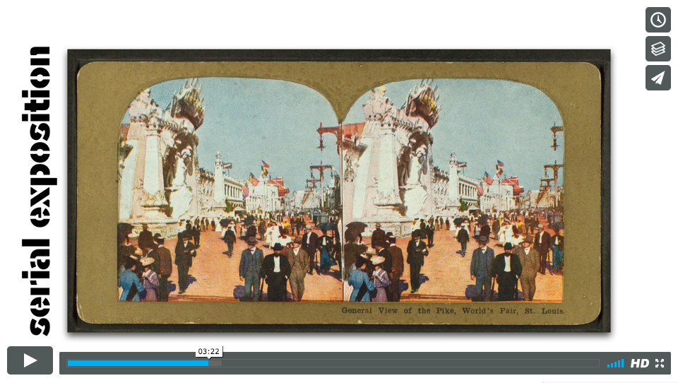 Video still of stereoscope photo of crowd outside
