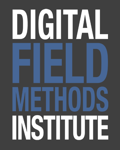 """This image reads """"Digital Fields Methods Institute"""" in all capital letters; the first and last word is in white letters; the two words in the middle in blue letters. The background is black."""
