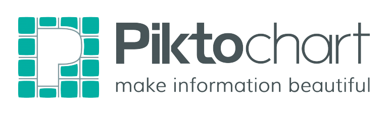 """This image depicts the Piktochart logo, which is a big capital """"P."""" It is followed by the word """"Piktochart,"""" where the letters """"Pikto"""" are in bold print. Under """"Piktochart,"""" it says """"make information beautiful."""""""
