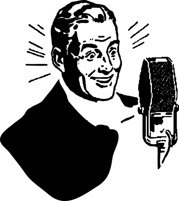 Clip art illustration of a radio-era man speaking into a microphone.
