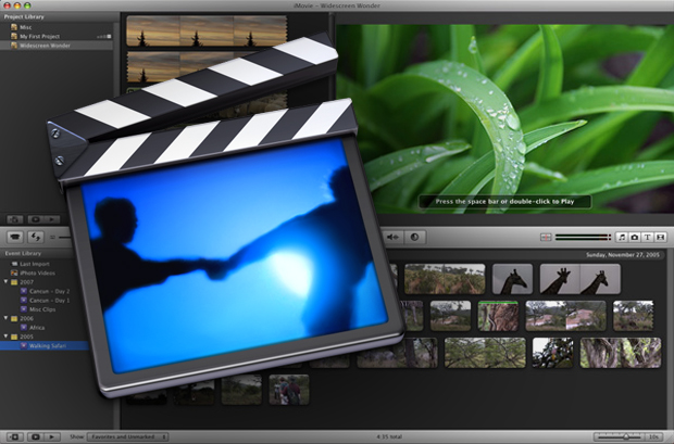 This image shows in the background an opened iMovie application with an image of a plant on the main corner. In the foreground, there is a clapperboard.